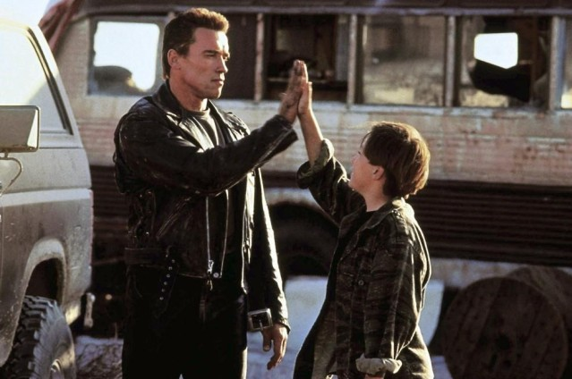 TERMINATOR 2: JUDGMENT DAY, Arnold Schwarzenegger, Edward Furlong, 1991, ©TriStar Pictures